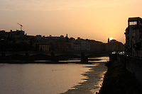 The beautiful sunset over river Arno in the renaissance city of Flronce Italy.