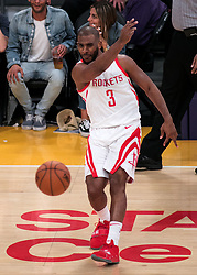April 10, 2018 - Los Angeles, California, U.S - Chris Paul #3 of the Houston Rockets passes the ball during their NBA game with the Los Angeles Lakers on Tuesday April 10, 2018 at Staples Center in Los Angeles, California. Lakers lose to Rockets, 105-99. (Credit Image: © Prensa Internacional via ZUMA Wire)