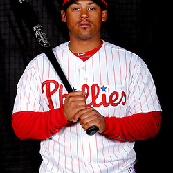 February 22, 2011; Clearwater, FL, USA; Philadelphia Phillies utility player Delwyn Young poses during photo day at Bright House Networks Field. Mandatory Credit: Derick E. Hingle