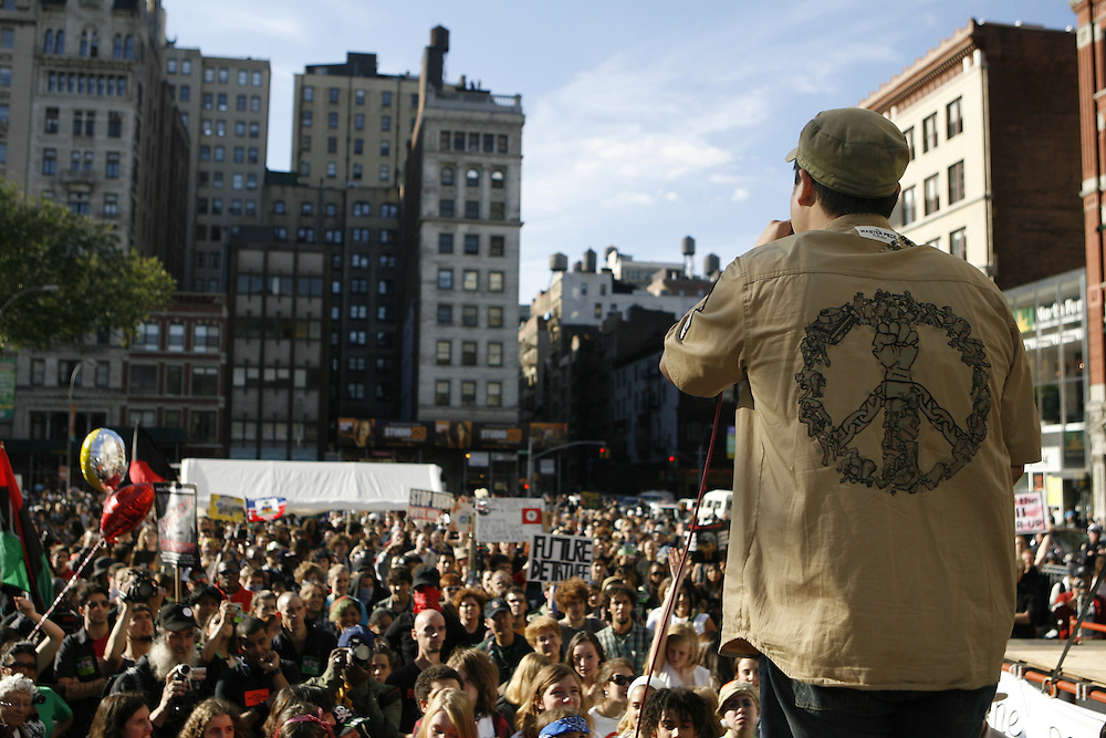 """New York, New York. United States. October 5th 2006..People protest against the Bush regime from the United Nations  to Union Square. All over the United States, 150 cities scream """"The World Can't Wait, Drive Out The Bush Regime""""."""
