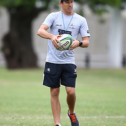 DURBAN, SOUTH AFRICA - MAY 15: Alan Basson - Zondagh (Skills Coach) of the Cell C Sharks during the Cell C Sharks training session at Jonsson Kings Park on May 15, 2018 in Durban, South Africa. (Photo by Steve Haag/Gallo Images)