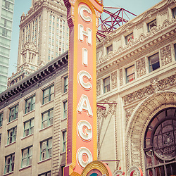 Chicago Theatre Retro Vintage Picture. The Chicago Theater is a popular venue for concerts and stage performances and is a landmark listed with the National Register of Historic Places.