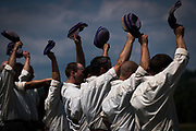 Players from the Ironsides Base Ball Club, of Allegheny, Pa., cheer after a game during the 8th Annual Gettysburg National 19th Century Base Ball Festival on Saturday, July 15, 2017 in Gettysburg, PA.