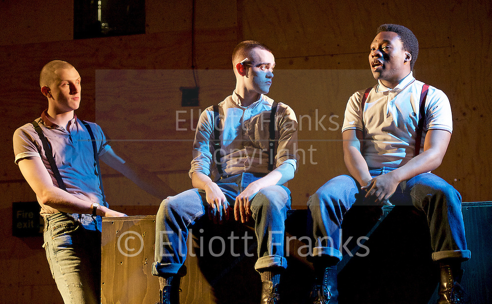 Barbarians <br /> by Barrie Keeffe <br /> directed by Liz Stevenson <br /> at The Young Vic Theatre, London, Great Britain <br /> press photocall <br /> 1st December 2015 <br /> <br /> <br /> Alex Austin as Jan <br /> Brian Vernel as Paul <br /> Fisayo Akinade as Louis <br /> <br /> Photograph by Elliott Franks <br /> Image licensed to Elliott Franks Photography Services