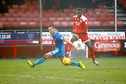 Crawley Town midfielder Enzio Boldewijn (7) has a shot on goal during the EFL Sky Bet League 2 match between Crawley Town and Grimsby Town FC at the Checkatrade.com Stadium, Crawley, England on 10 February 2018. Picture by Andy Walter.