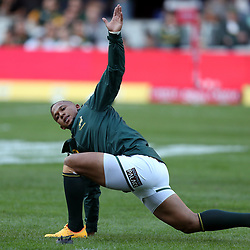Elton Jantjies of South Africa during the 2nd Castle Lager Incoming Series Test match between South Africa and France at Growthpoint Kings Park on June 17, 2017 in Durban, South Africa. (Photo by Steve Haag Sports)