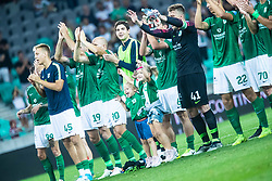 Players of NK Olimpija  celebrating with fan group after football match between NK Olimpija and NK Domzale in 2nd Round of Prva liga Telekom Slovenije 2019/20, on July 21st, 2019, in Stadium Stozice, Ljubljana, Slovenia. Photo by Grega Valancic / Sportida