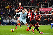 Eden Hazard (10) of Chelsea surrounded by Bournemouth players as he drives forward during the Premier League match between Bournemouth and Chelsea at the Vitality Stadium, Bournemouth, England on 30 January 2019.