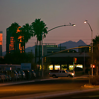 The sun sets on downtown Tucson, Arizona.