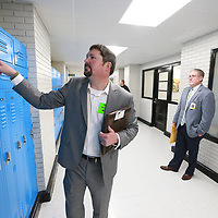Andy Cantrell makes sure all the lockers at Tupelo Middle are secure during a safety audit of the districts schools.