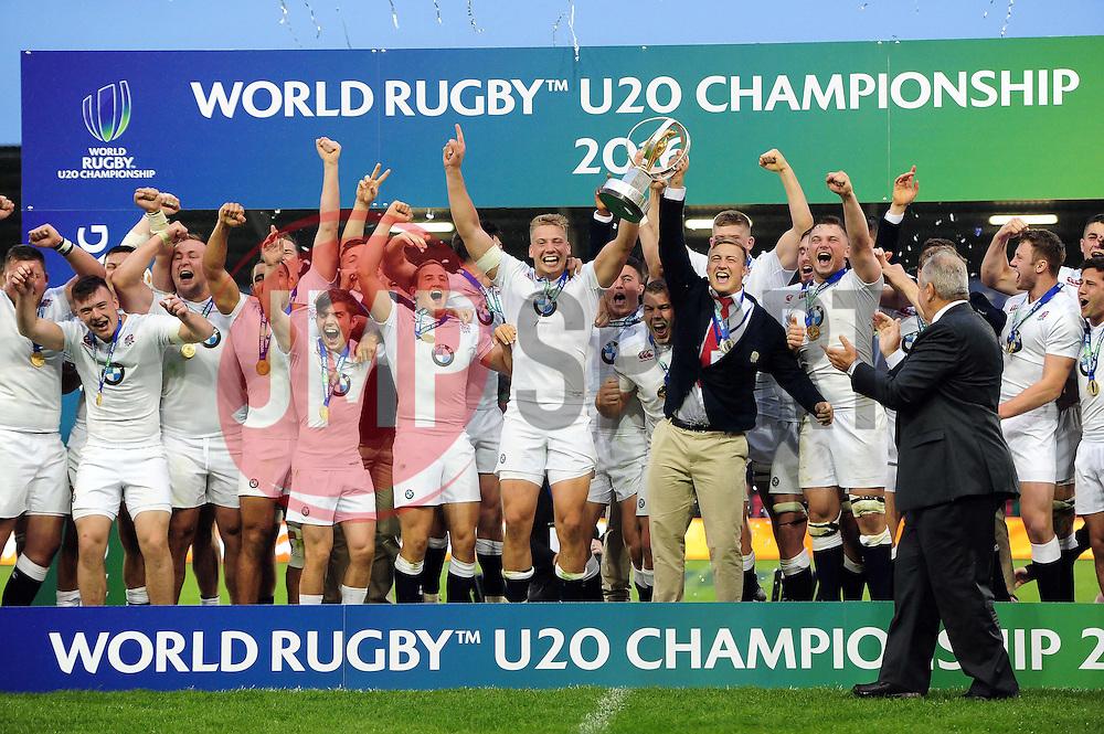 Harry Mallinder of England U20 lifts the World Rugby U20 Championship trophy in celebration - Mandatory byline: Patrick Khachfe/JMP - 07966 386802 - 25/06/2016 - RUGBY UNION - AJ Bell Stadium - Manchester, England - England U20 v Ireland U20 - World Rugby U20 Championship Final 2016.