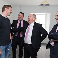 Mathew Griffin, locally based illustrator, chatting with Michael Ring, TD Minister for Sports during the Official opening of 'The Castle', Antique, Arts & Craft Centre in Clarecastle