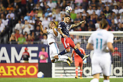 CHICAGO, IL - AUGUST 02: Real Madrid midfielder Casemiro (left) and MLS All-Star Dom Dwyer (right) battle for the header in the second half during a soccer match between the MLS All-Stars and Real Madrid on August 2, 2017, at Soldier Field, in Chicago, IL. The game ended in a 1-1 tie with Real Madrid winning on penalty kicks 4-2. (Photo by Patrick Gorski/Icon Sportswire)