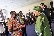 Liberian President Ellen Johnson Sirleaf  meets Simon and Simeon Menso, identical twin Gonzaga freshmen from Liberia. (Ryan Sullivan photo)