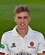 Head shot of Tom Lammonby of Somerset during the 2019 media day at Somerset County Cricket Club at the Cooper Associates County Ground, Taunton, United Kingdom on 2 April 2019.
