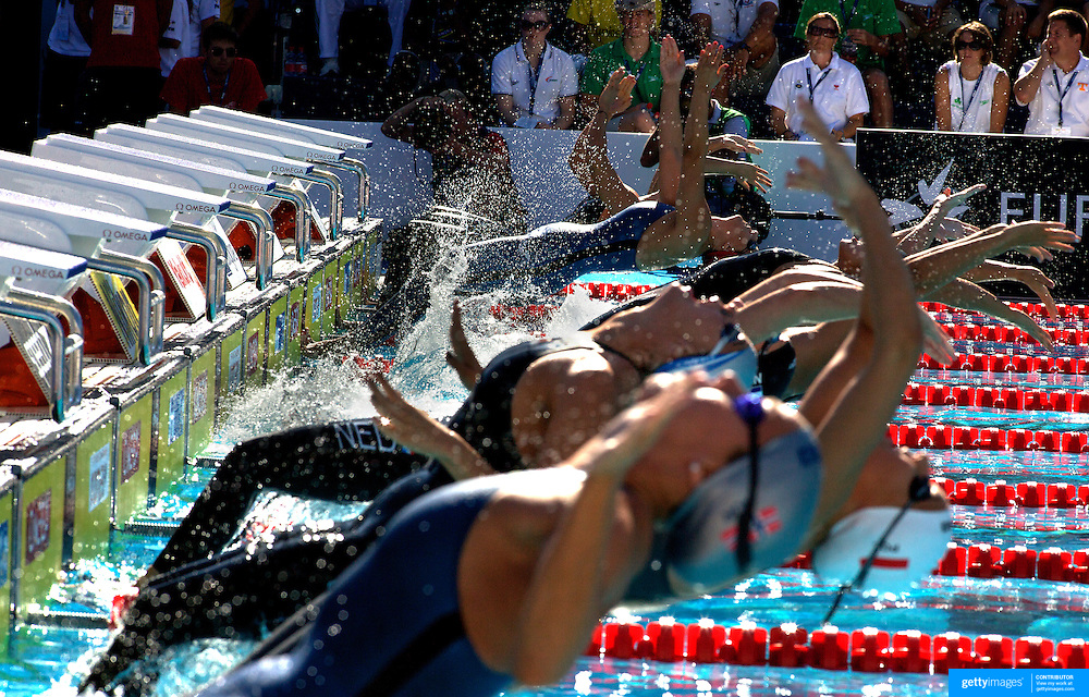 A start of the Women's 50m backstroke heats at the World Swimming Championships in Rome on Wednesday, July 29, 2009. Photo Tim Clayton.