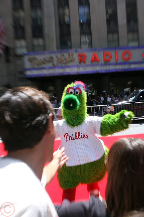 Phillie's mascot ' Philly Phanatic' at the Major League Baseball All-Stars and 49 Hall of Famers ride up Sixth Avenue in All Star-Game Red Carpet Parade Presented by Chevy on July 15, 2008