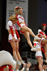 March 19, 2011; Stanford, CA, USA; Texas Tech Lady Raiders cheerleader perform during the first half of the first round of the 2011 NCAA women's basketball tournament against the St. John's Red Storm at Maples Pavilion. St. John's defeated Texas Tech 55-50.