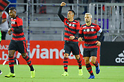 Flamengo midfielder Fernando Uribe (20) celebrates a first-half goal during a Florida Cup match against Ajax Amsterdam at Orlando City Stadium on Jan. 10, 2019 in Orlando, Florida. <br /> <br /> ©2019 Scott A. Miller