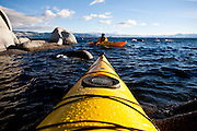 Harry King kayaks on Lake Tahoe near Kings Beach, Calif., January 19, 2011.