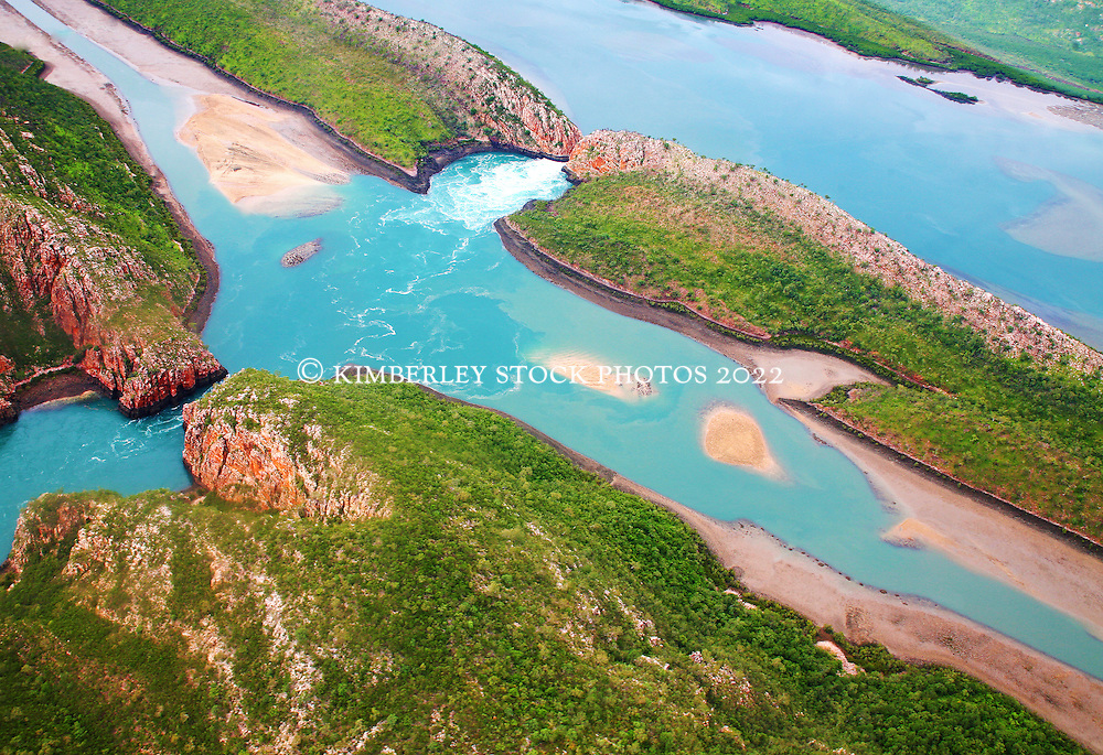 Aerial view of the Horizontal Waterfalls in Talbot Bay showing the extensive sandbanks which are revealed at low tide.