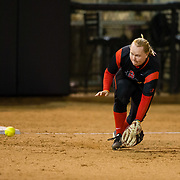 02 March 2018: San Diego State softball closes out day two of the San Diego Classic I at Aztec Softball Stadium with a night cap against CSU Northridge. San Diego State third baseman Molly Sturdivant (31) fields a ground ball in the second inning against CSU Northridge. The Aztecs dropped a close game 2-0 to the Matadors. <br /> More game action at sdsuaztecphotos.com