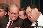 Rep. Jerrold Nadler (right) speaks with Rep. Rick Boucher during House Judiciary Committee hearings on whether impeachment proceedings should begin against President Bill Clinton October 5, 1998 in Washington, DC. This is only the third time in US history that impeachment proceedings against a President have been brought to the House committee.