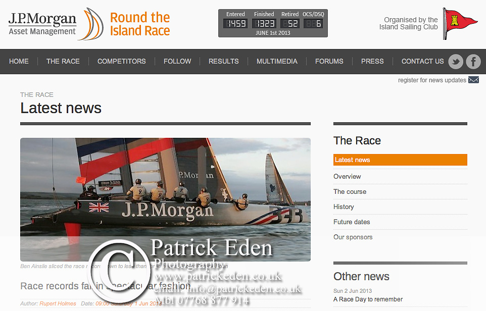 J P Morgan, Round the island Race, Ben Ainslie, Cowes, Isle of Wight, UK,