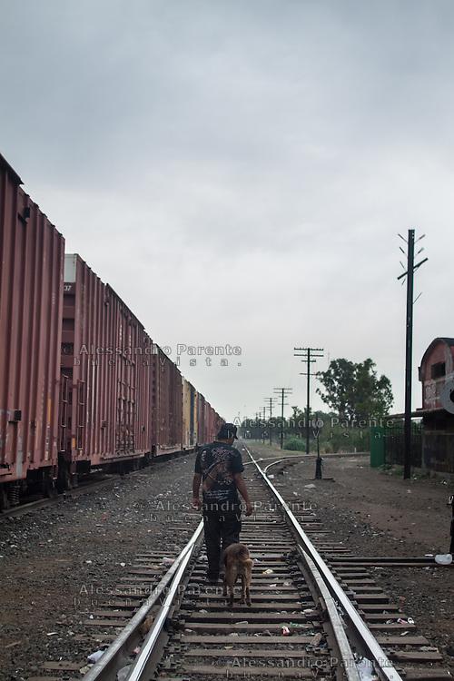 Canela is following Jose, hoping for some food.<br /> Canela segue un migrante nella speranza di avere un po' di cibo.