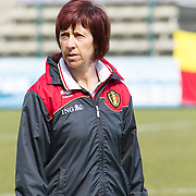 21120413 - HARELBEKE, BELGIUM : Belgium's Head coach Joëlle Piron during the Second qualifying round of U17 Women Championship between Switzerland and Belgium on Friday April 13th, 2012 in Harelbeke, Belgium.