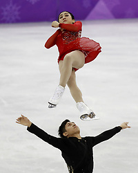 February 15, 2018 - Pyeongchang, South Korea - WENJING SUI and CONG HAN of China compete in pairs free skating during the Pyeongchang 2018 Olympic Winter Games at Gangneung Ice Arena. (Credit Image: © David McIntyre via ZUMA Wire)