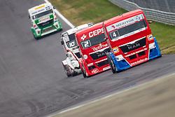 07.07.2013, Red Bull Ring, Spielberg, AUT, Truck Race Trophy, Renntag 2, im Bild Markus Oestreich, (GER, Truck Sport Lutz Bernau, #4, 1. Platz), Antonio Albacete, (ESP, Equipo Cepsa, #2, 2. Platz), Norbert Kiss, (HUN, Oxxo Energy Truck Race Team, #10, 3. Platz), Jochen Hahn, (GER, Castrol Team Hahn Racing, #1) // during the Truck Race Trophy 2013 at the Red Bull Ring in Spielberg, Austria, 2013/07/07, EXPA Pictures © 2013, PhotoCredit: EXPA/ M.Kuhnke