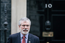 © Licensed to London News Pictures. 21/11/2017. London, UK. Sinn Fein Leader GERRY ADAMS leaves 10 Downing Street after meeting with Prime Minister Theresa May. Photo credit: Rob Pinney/LNP
