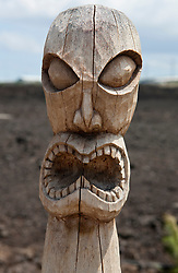 Hawaiian Kapu Ki'i tiki statue wooden carving, Kaloko-Honokohau National Historical Park, The Big Island, Hawaii, United States of America