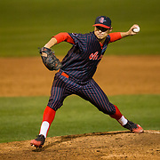 16 February 2018: San Diego State baseball opened up the season against UCSB at Tony Gwynn Stadium. San Diego State relief pitcher Jacob Erickson seen here in the sixth inning against UCSB. The Aztecs beat the Gauchos 9-1. <br /> More game action at sdsuaztecphotos.com