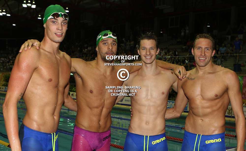 DURBAN, SOUTH AFRICA - APRIL 16: Justue Calvyn with Chad Le Clos -Chad Le Clos Sebastien Rousseau in the men 4 x 200m LC freestyle relay during day 7 of the SA National Aquatic Championships 2016 at Kings Park Aquatic Centre on April 16, 2016 in Durban, South Africa. (Photo by Steve Haag/Gallo Images)