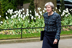 May 3, 2017 - London - Theresa May Departs from Number 10 - Dissolution of Parliament...Prime Minister Theresa May delivers a speech from Number 10 Downing Street after visiting Buckingham Palace where she asked ask Her Majesty Queen Elizabeth II to dissolve Parliament in 25 working days ahead of the UK's 2017 General Election.  (Credit Image: © Pete Maclaine/i-Images via ZUMA Press)