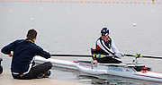 Caversham, GREAT BRITAIN,   GB, Women's,  Helene RAYNSFORD, GBR AW1X,,  sitting, ccoach, Chad KING [Chief Coach, GB Rowing Adaptive Squard] [Chief Coach, GB Rowing Adaptive Squard], GB Rowing,  Adaptive Rowing Media Day [athletes training for the Beijing Paralympics] [Mandatory Credit, Peter Spurrier / Intersport-images Rowing course: GB Rowing Training Complex, Redgrave Pinsent Lake, Caversham, Reading
