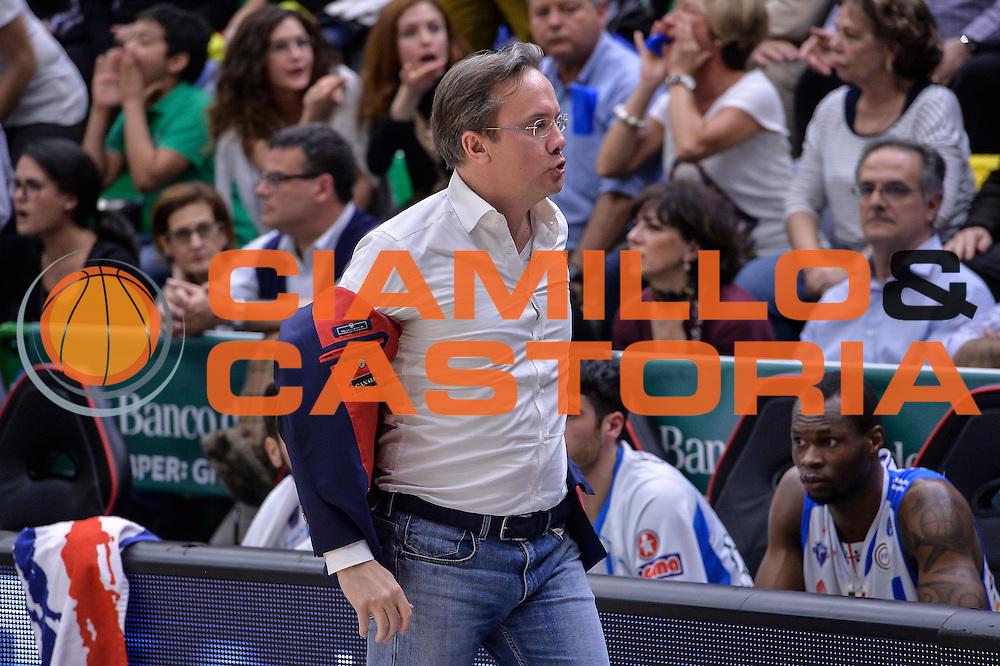DESCRIZIONE : Beko Legabasket Serie A 2015- 2016 Dinamo Banco di Sardegna Sassari - Pasta Reggia Juve Caserta<br /> GIOCATORE : Federico Pasquini<br /> CATEGORIA : Allenatore Coach Ritratto Delusione<br /> SQUADRA : Dinamo Banco di Sardegna Sassari<br /> EVENTO : Beko Legabasket Serie A 2015-2016<br /> GARA : Dinamo Banco di Sardegna Sassari - Pasta Reggia Juve Caserta<br /> DATA : 03/04/2016<br /> SPORT : Pallacanestro <br /> AUTORE : Agenzia Ciamillo-Castoria/L.Canu