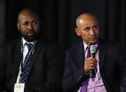 Nicaragua coach Henry Duarte (right) and Bermuda coach Kyle Lightbourne during CONCACAF Gold Cup groups unveiling news conference, Wednesday, April 10, 2019, in Los Angeles.