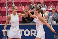 Arantxa Rus (Netherlands) and Quirine Lemoine (Netherlands) at the 2017 WTA Ericsson Open in Båstad, Sweden, July 30, 2017. Photo Credit: Katja Boll/EVENTMEDIA.