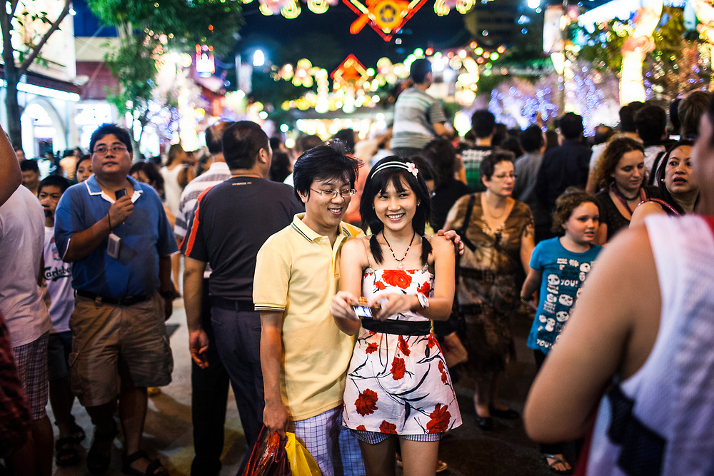 A young couple during the Chinese New Year in Singapore.