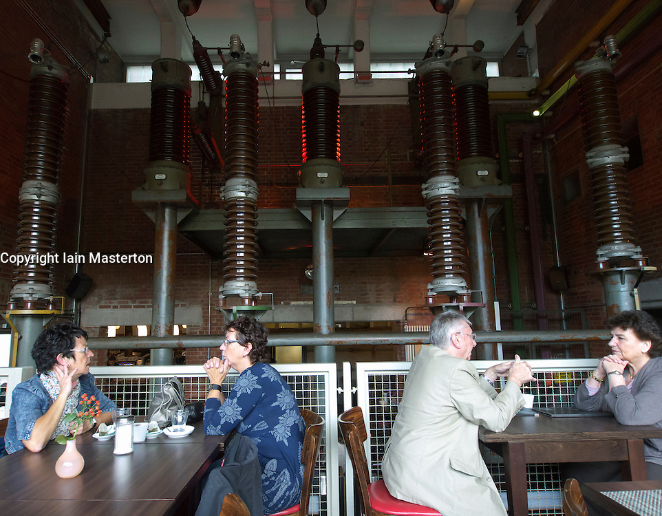Interior of cafe and restaurant inside former electrical room at Landschaftspark industrial museum in Duisburg Germany