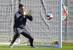 NEWPORT, WALES - Tuesday, October 7, 2014: Wales' goalkeeper Kyle Letheren during training at Dragon Park National Football Development Centre ahead of the UEFA Euro 2016 qualifying match against Bosnia and Herzegovina. (Pic by David Rawcliffe/Propaganda)