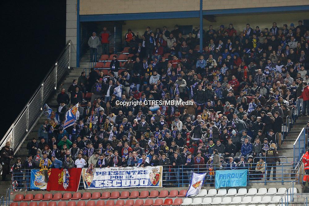 13.01.2013 SPAIN -  La Liga 12/13 Matchday 19th  match played between Atletico de Madrid vs Real Zaragoza (2-0) at Vicente Calderon stadium. The picture show Real Zaragoza fans