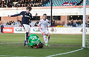 Inverness&rsquo; Owain Fon Williams saves at the feet of Dundee&rsquo;s Craig Wighton - Dundee v Inverness Caledonian Thistle - Ladbrokes Scottish Premiership at Dens Park<br /> <br />  - &copy; David Young - www.davidyoungphoto.co.uk - email: davidyoungphoto@gmail.com
