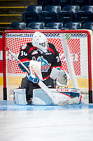 KELOWNA, CANADA - SEPTEMBER 24: Michael Herringer #30 of the Kelowna Rockets warms up against the Kamloops Blazers on September 24, 2016 at Prospera Place in Kelowna, British Columbia, Canada.  (Photo by Marissa Baecker/Shoot the Breeze)  *** Local Caption *** Michael Herringer;