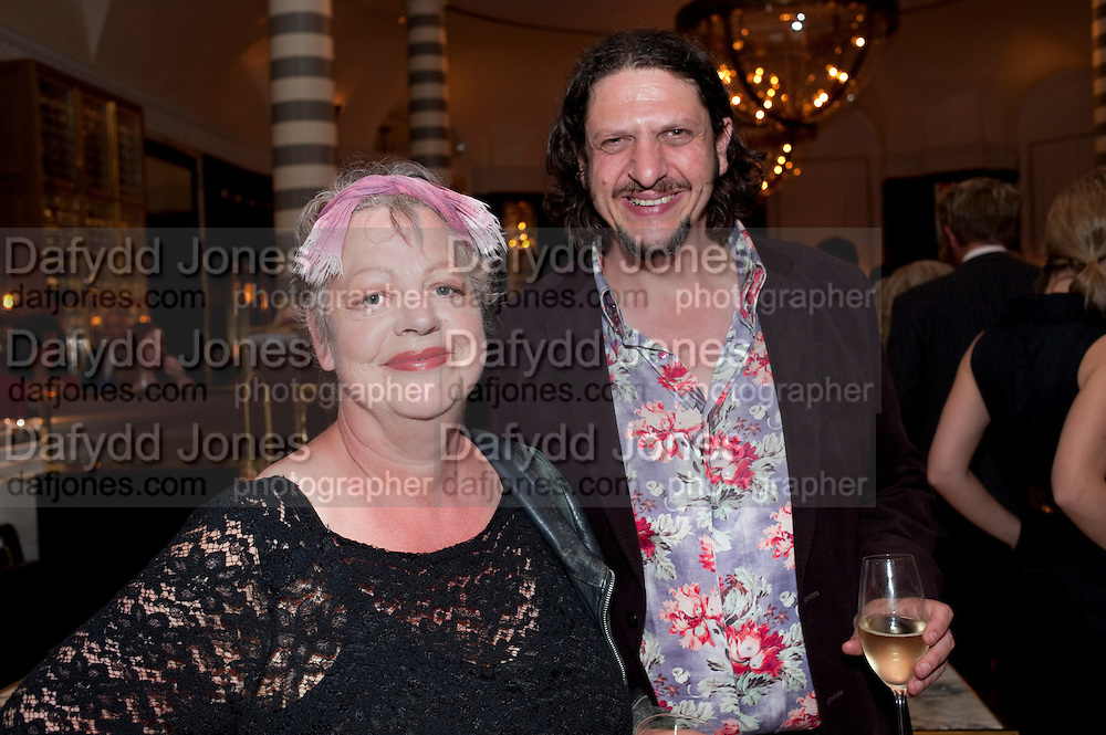 JO BRAND; JAY RAYNER, Massimo's restaurant at the Corinthia Hotel, Whitehall  host the after party  for 'Claire Rayner's benefit show' 5 June 2011. <br /> <br />  , -DO NOT ARCHIVE-© Copyright Photograph by Dafydd Jones. 248 Clapham Rd. London SW9 0PZ. Tel 0207 820 0771. www.dafjones.com.