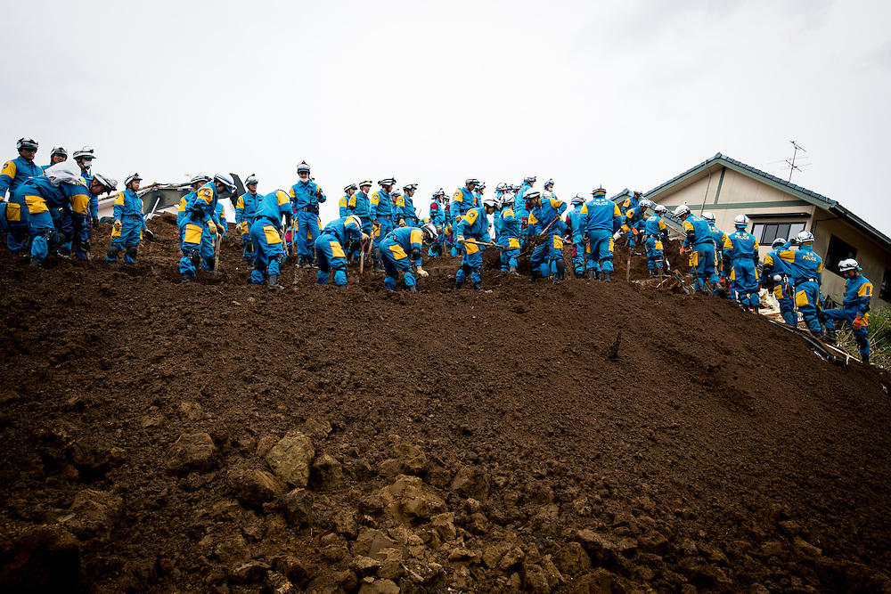 KUMAMOTO, JAPAN - APRIL 18: Police and Japan Ground Self-Defense Force continue to rescue April 18, 2016 in Minamiaso, Kumamoto, Japan. The magnitude 7.3 earthquake hit Kyushu, just after the earthquake killed 9, at least 26 new fatalities by this earthquake, total death toll from the series of earthquake rises to 42.<br /> <br /> Photo: Richard Atrero de Guzman