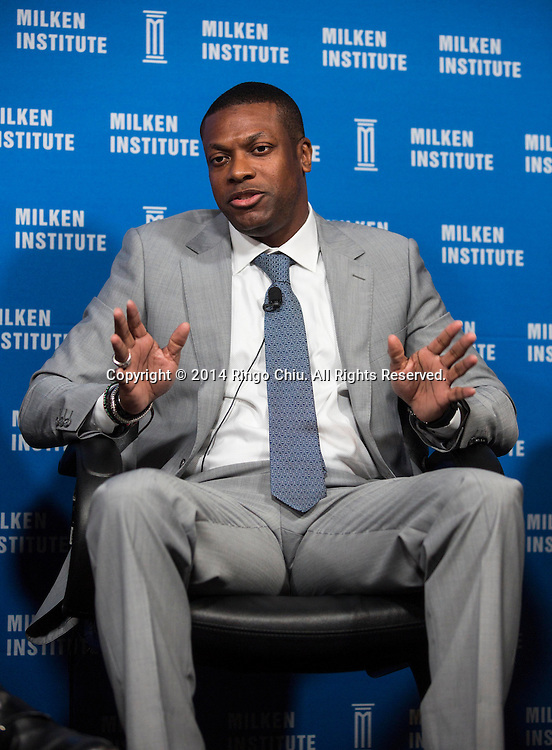 """Chris Tucker, actor and comedian; founder of Chris Tucker, in a panel """"YesWeCode: Training NextGen Technologists"""" during the Milken Institute Global Conference on Monday, April 28, 2014 in Beverly Hills, California. (Photo by Ringo Chiu/PHOTOFORMULA.com)"""